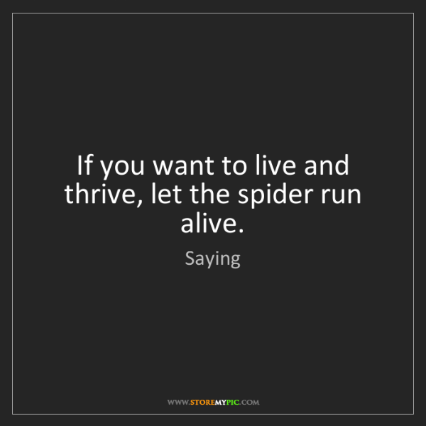 Saying: If you want to live and thrive, let the spider run alive.