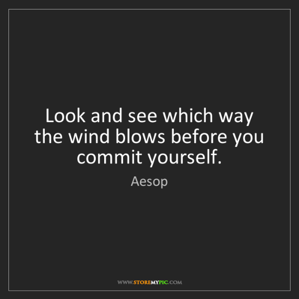 Aesop: Look and see which way the wind blows before you commit...