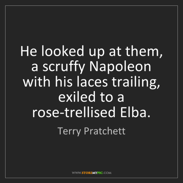 Terry Pratchett: He looked up at them, a scruffy Napoleon with his laces...