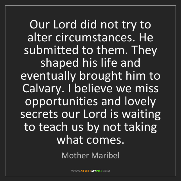Mother Maribel: Our Lord did not try to alter circumstances. He submitted...