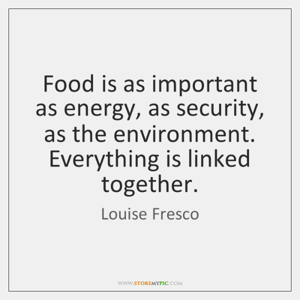 Food is as important as energy, as security, as the environment. Everything ...