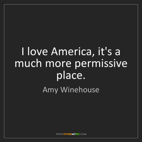 Amy Winehouse: I love America, it's a much more permissive place.