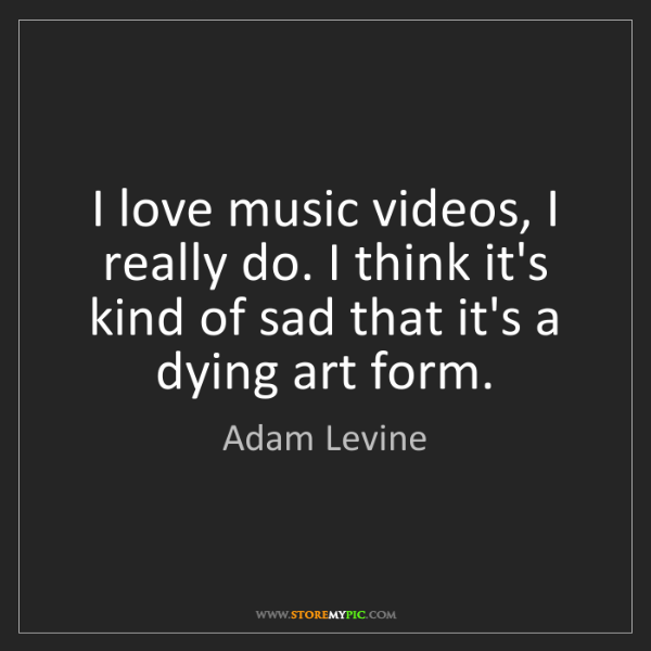 Adam Levine: I love music videos, I really do. I think it's kind of...