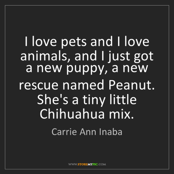 Carrie Ann Inaba: I love pets and I love animals, and I just got a new...