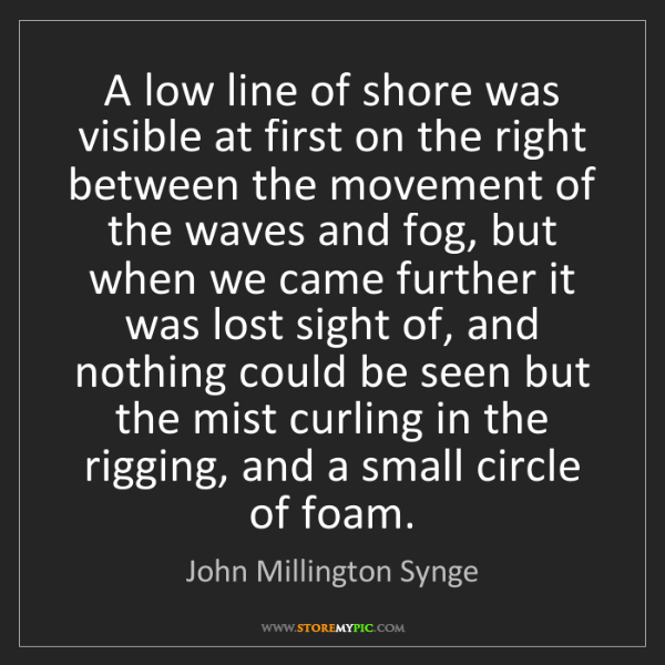 John Millington Synge: A low line of shore was visible at first on the right...