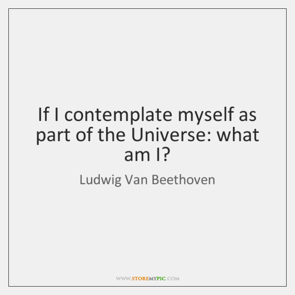If I contemplate myself as part of the Universe: what am I?