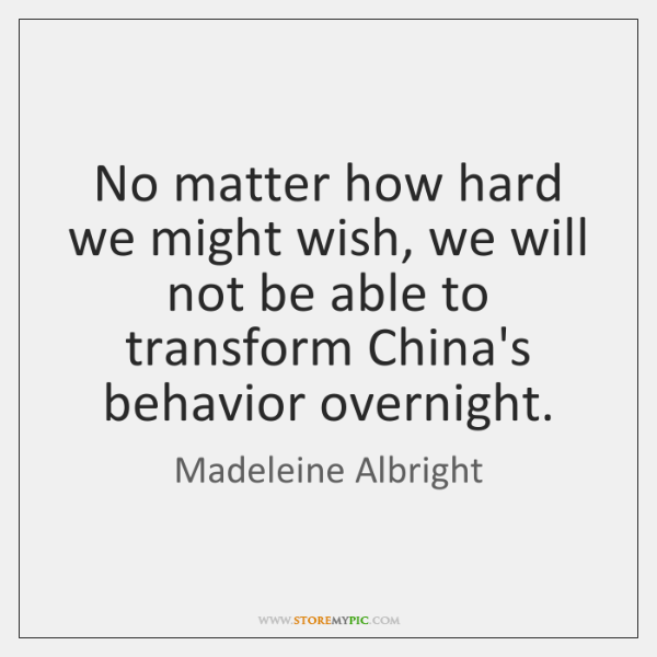 No matter how hard we might wish, we will not be able ...