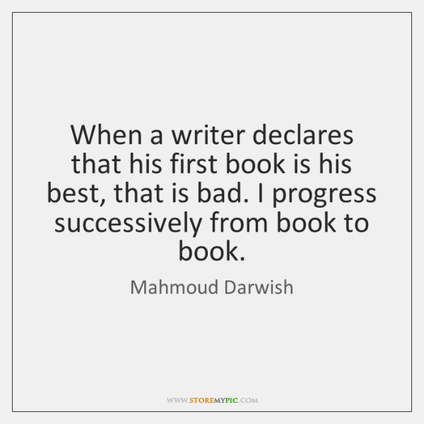 When a writer declares that his first book is his best, that ...