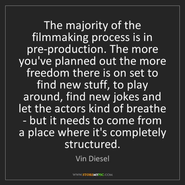 Vin Diesel: The majority of the filmmaking process is in pre-production....