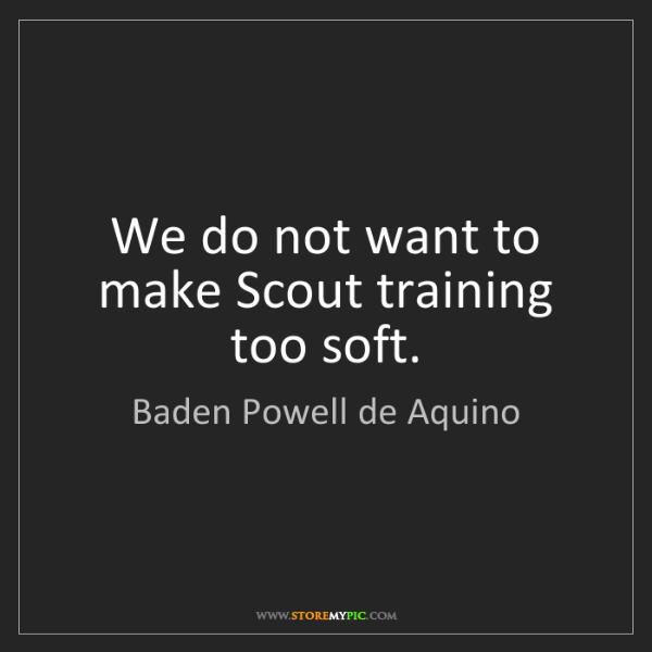 Baden Powell de Aquino: We do not want to make Scout training too soft.