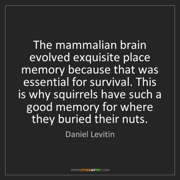 Daniel Levitin: The mammalian brain evolved exquisite place memory because...