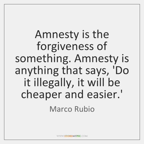 Amnesty is the forgiveness of something. Amnesty is anything that says, 'Do ...