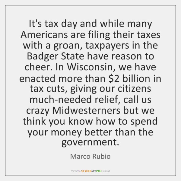 It's tax day and while many Americans are filing their taxes with ...