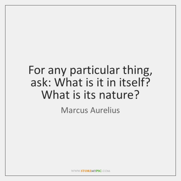 For any particular thing, ask: What is it in itself? What is ...