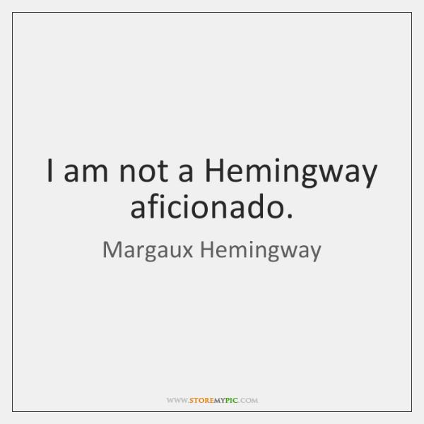 I am not a Hemingway aficionado.
