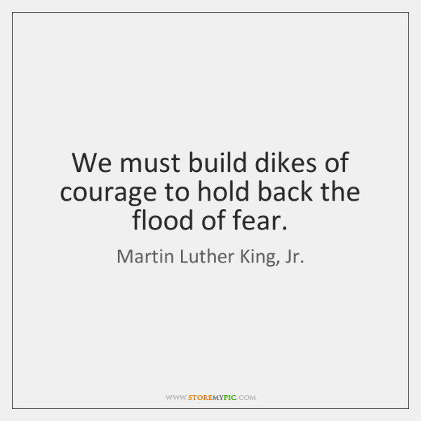 We must build dikes of courage to hold back the flood of ...