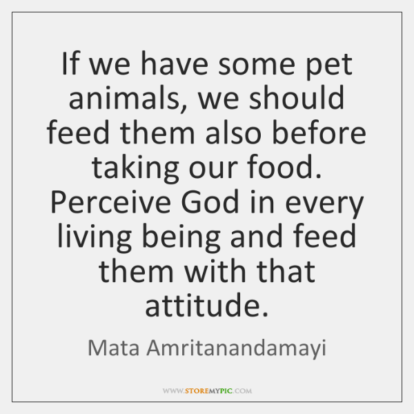 If we have some pet animals, we should feed them also before ...