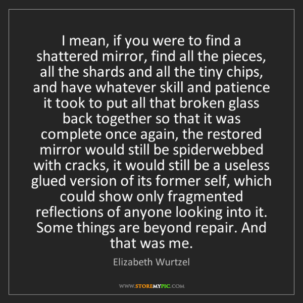 Elizabeth Wurtzel: I mean, if you were to find a shattered mirror, find...