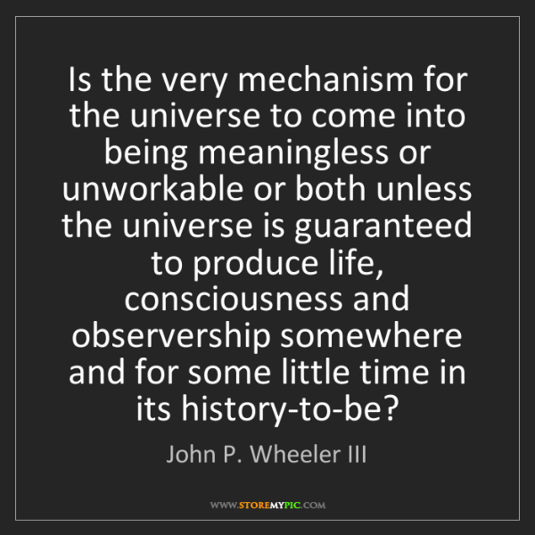 John P. Wheeler III: Is the very mechanism for the universe to come into being...