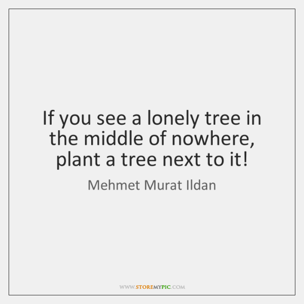 If you see a lonely tree in the middle of nowhere, plant ...