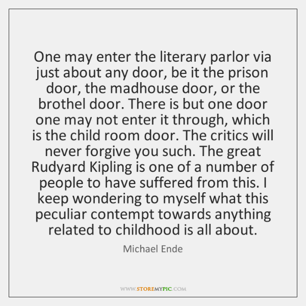 One may enter the literary parlor via just about any door, be ...
