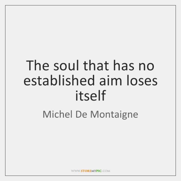 The soul that has no established aim loses itself