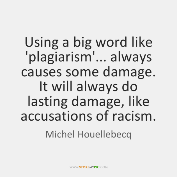 Using a big word like 'plagiarism'... always causes some damage. It will ...