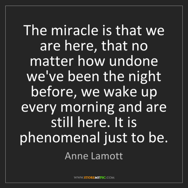 Anne Lamott: The miracle is that we are here, that no matter how undone...