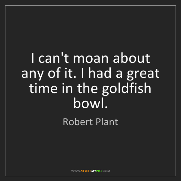 Robert Plant: I can't moan about any of it. I had a great time in the...