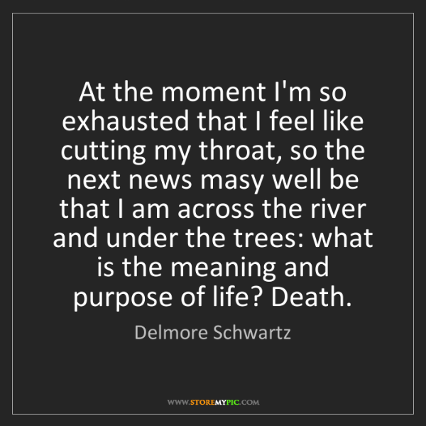 Delmore Schwartz: At the moment I'm so exhausted that I feel like cutting...