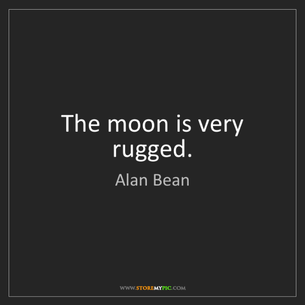 Alan Bean: The moon is very rugged.