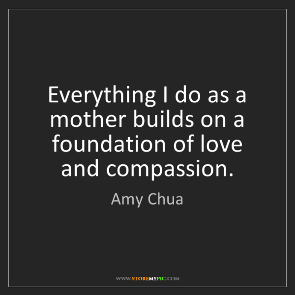 Amy Chua: Everything I do as a mother builds on a foundation of...