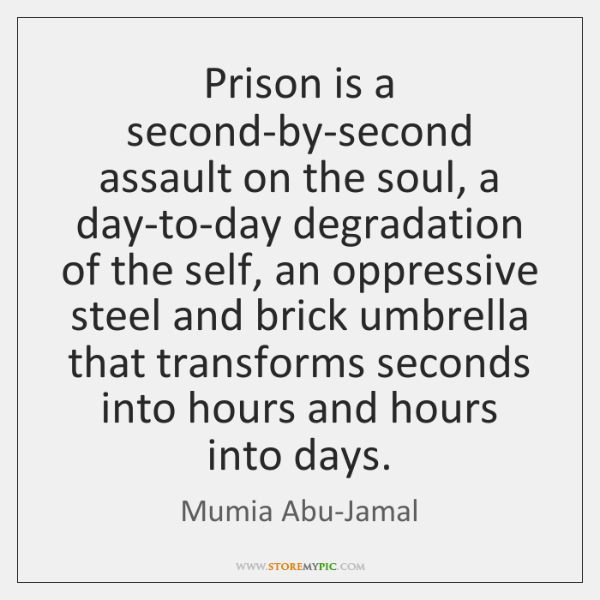 Prison is a second-by-second assault on the soul, a day-to-day degradation of ...