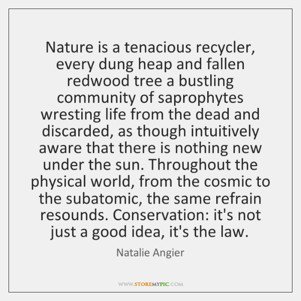 Nature is a tenacious recycler, every dung heap and fallen redwood tree ...