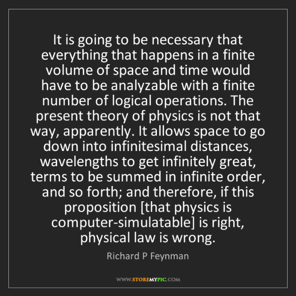 Richard P Feynman: It is going to be necessary that everything that happens...