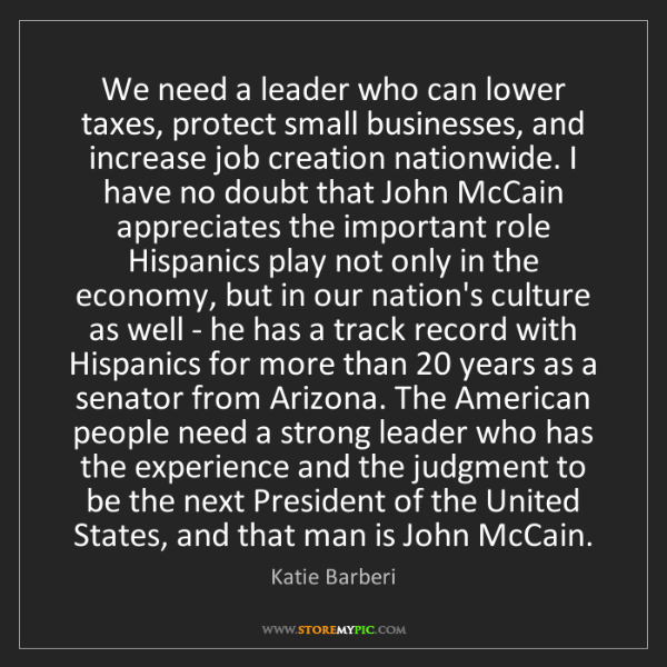 Katie Barberi: We need a leader who can lower taxes, protect small businesses,...