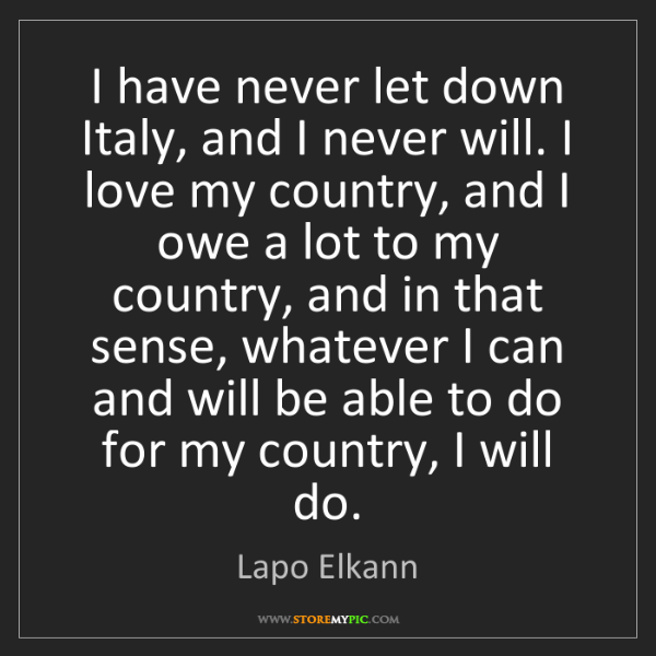 Lapo Elkann: I have never let down Italy, and I never will. I love...