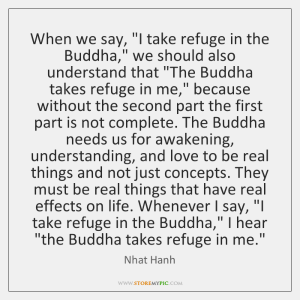 "When we say, ""I take refuge in the Buddha,"" we should also ..."