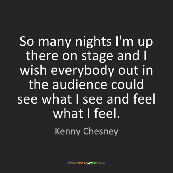 Kenny Chesney: So many nights I'm up there on stage and I wish everybody...