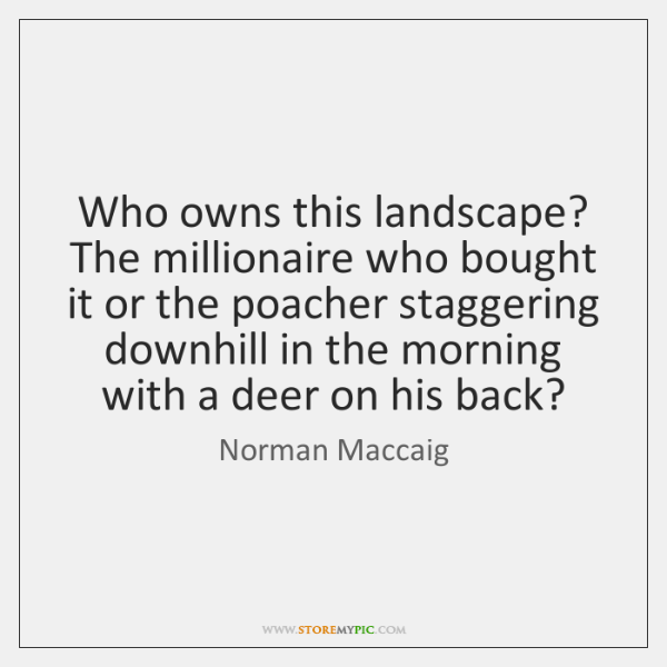 Who owns this landscape? The millionaire who bought it or the poacher ...