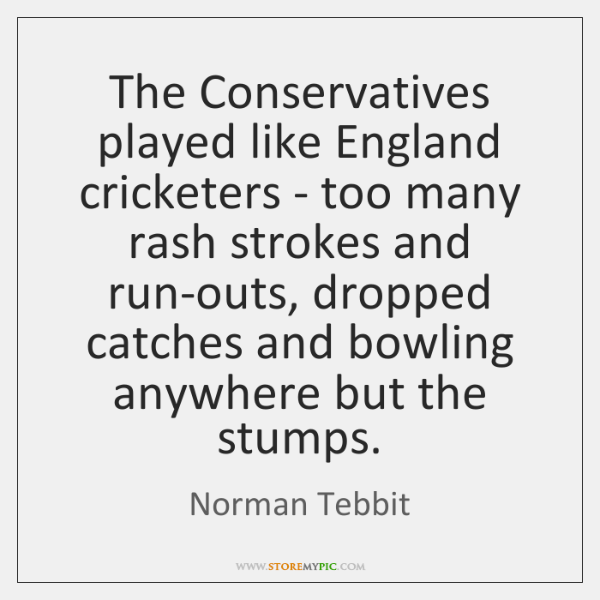 The Conservatives played like England cricketers - too many rash strokes and ...