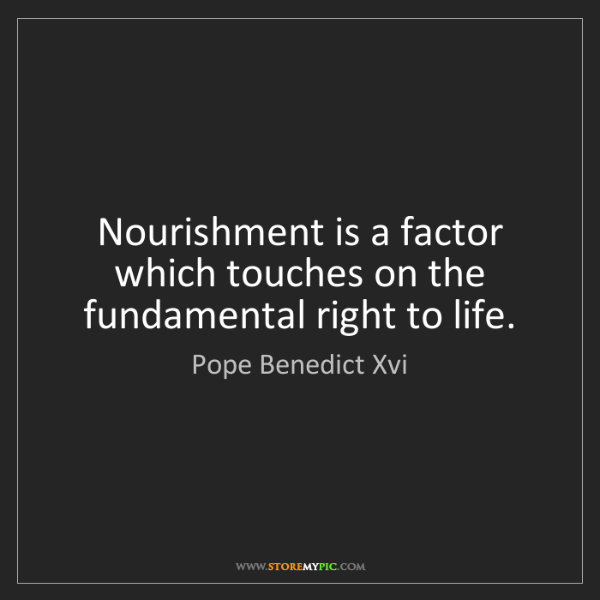 Pope Benedict Xvi: Nourishment is a factor which touches on the fundamental...
