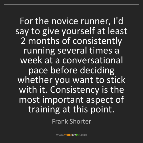 Frank Shorter: For the novice runner, I'd say to give yourself at least...