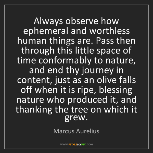 Marcus Aurelius: Always observe how ephemeral and worthless human things...