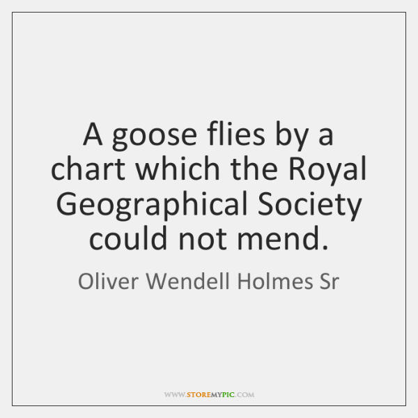 A goose flies by a chart which the Royal Geographical Society could ...