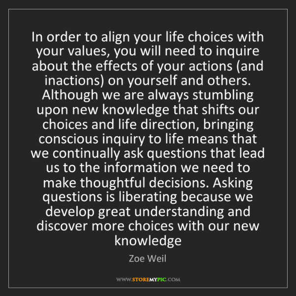 Zoe Weil: In order to align your life choices with your values,...