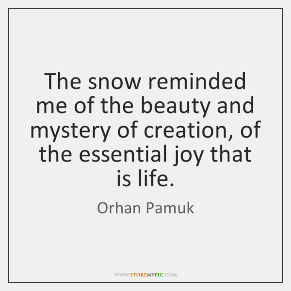The snow reminded me of the beauty and mystery of creation, of ...