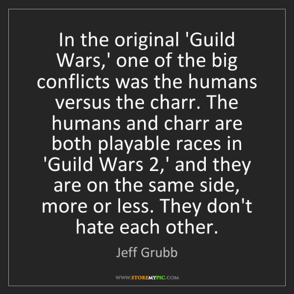 Jeff Grubb: In the original 'Guild Wars,' one of the big conflicts...
