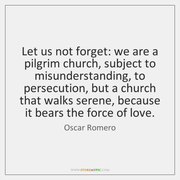 Let us not forget: we are a pilgrim church, subject to misunderstanding, ...