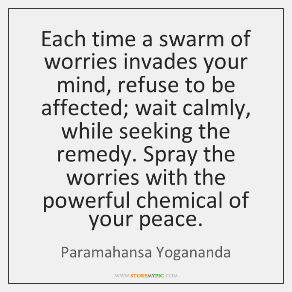 Each time a swarm of worries invades your mind, refuse to be ...